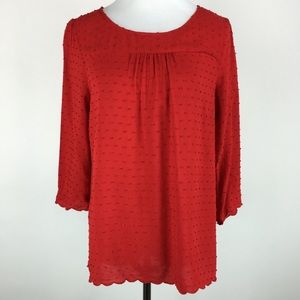Anthropologie Maeve red  Swiss dot top Sz 12